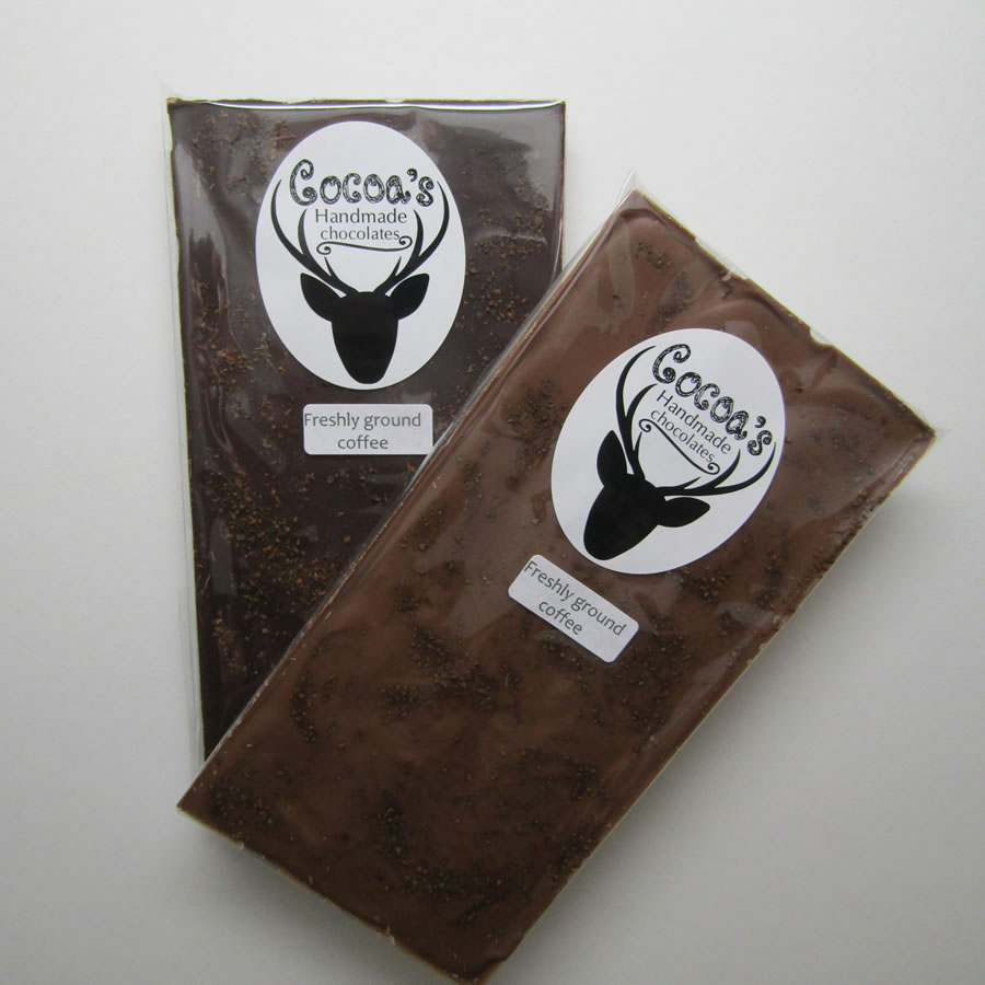 Freshly ground coffee chocolate bars